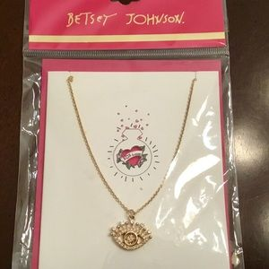 "Betsey Johnson ""Bling"" Card & Goldtone Necklace"